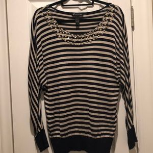 INC studded collar striped blouse